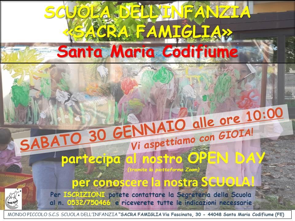 [MP-SFFE] OPEN DAY a.s.2021-2022 - Scuola SACRA FAMIGLIA